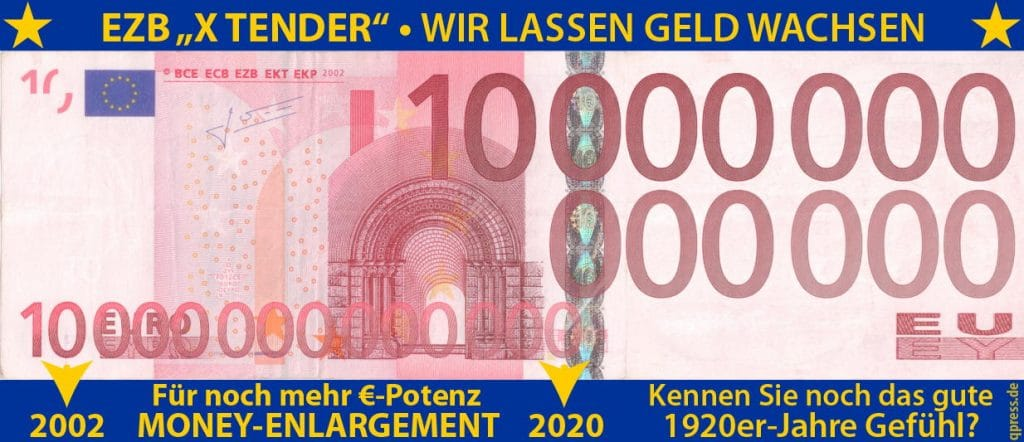 Vom Bargeldverbot zum Bargeldgebot, kommen jetzt die 1.000.000€-Scheine ezb_geld_Geldschein_money_x-tender_money-enlargement_Geldmengen_Wachstum_negativwins_Geldpolitik_Banken_qpress