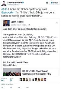 Andreas Petzold Bjoen Hoecke Twitter Facebook Streit Boehmermann Satire ZDF Finanzierung der Beleidigung eines staasmannes Erdogan durch die Gebuehrenzahler