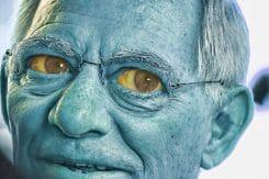 Wolfgang schaeuble mein schatz der finanzminister gollum herr der Dinge Ringe schreckgespenst deutscher Politik_blau