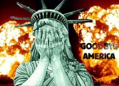 Liberty hit by lightning flash goodbye amrica god buy the end