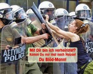 Vollverschleierung polizei_familie_demokratie_streit_widerstand_Frau_Polizeistaat_griechische_verhaeltnisse_dilemma_demonstration_protest_ordnung_gewalt