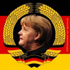 Angela Merkel Staatsratsvorsitzende Wiederwahl Flag_of_East_Germany Gedenk Bildnis