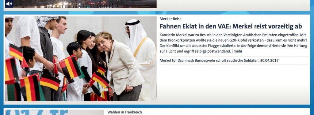 Fahnenflucht: Merkel flüchtet vor deutscher Flagge