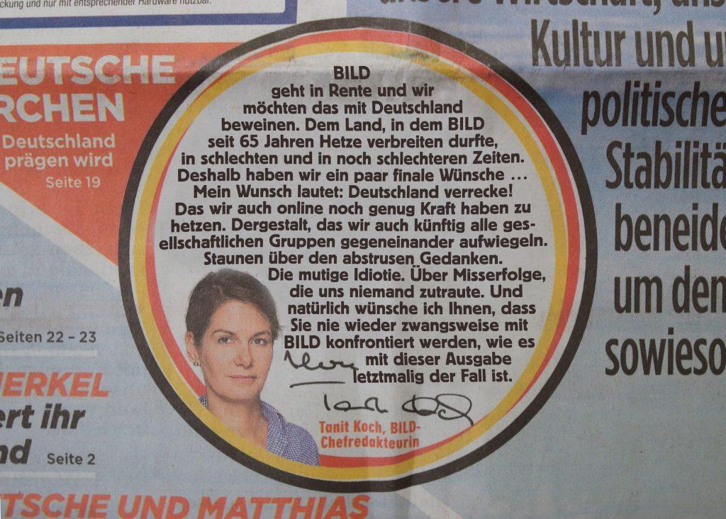 BILD-Zeitung per sofort und endgültig eingestellt
